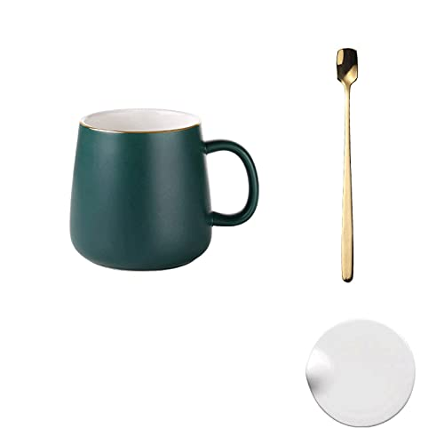 GLALAXY Taza de café de Porcelana de 4 Piezas, con Tapa y Cuchara, Tazas de Porcelana para café, té, Cacao, Conjunto de 4 (Color : 4 Pieces Style 12)