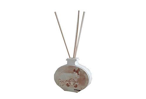 Cvc srl – Ambientador de cerámica Blanca y Madera con decoración de Caballo y carroza 8 x 9 cm – Regalo para Boda, Ceremonia Nupcial, decoración del hogar
