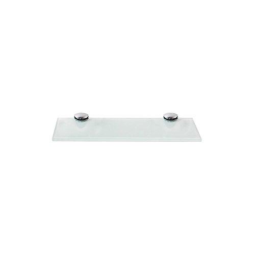 Melko Glasablage, Glasregal ideal für Bad, Dusche und zur modernen Dekoration mit Halterung aus Edelstahl 20 x 10 x 0,6 cm, Weiß