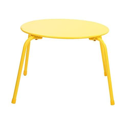 JCNFA Tavolini da caffè Tavolo da studio tavolo giocattolo,Tavolino basso rotondo per tavolo da pranzo,Tavolino da giardino in acciaio, tavolino rotondo da ester(Size:23.62*23.62*17.32in,Color:giallo)