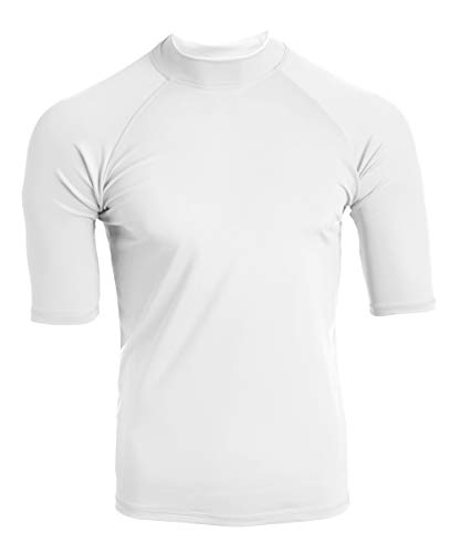 Kanu Surf Men's UPF 50+ Short Sleeve Sun Protective Rashguard Swim Shirt, Fiji White, Large
