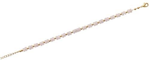 Tata Gisèle - Pulsera chapada en oro de 18 quilates, eslabones de bolas/perlas de cuarzo rosa, bolsa de terciopelo de regalo