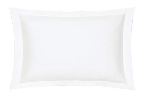 Blanc des Vosges Uni Percale Taie Coton Blanc 50 x 75 cm