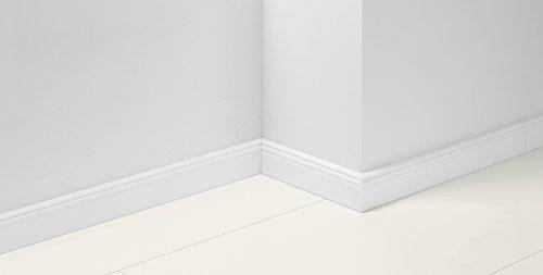 Parador Fußleiste mit Hamburger Profil - Sockelleiste in Weiß mit hochwertigem MDF-Kern - Klick-System - 2570 x 19 x 65 mm - HL 1, Dekor D001
