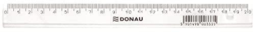 DONAU 7052001PL-00 Lineal Kunststoff/ Plastik Deformationsbeständig Höchst bruchbeständig Formstabiles Abgeschrägte Kanten, 20 cm Transparent Glasklar für Schule, Büro, Zuhause