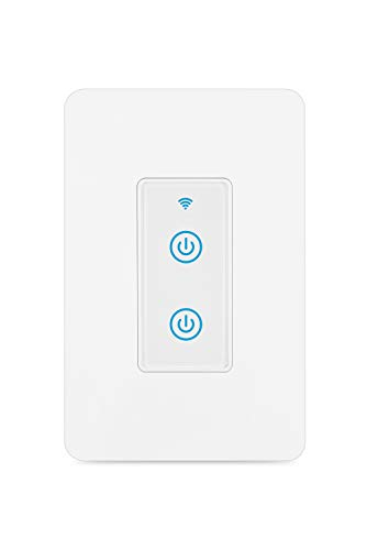 Big Size Smart Light Switch, WiFi Light Switch Compatible with Alexa, Google Home and IFTTT,Easy and Safe installation,No Hub Required(Wall Switch 2 Gang)