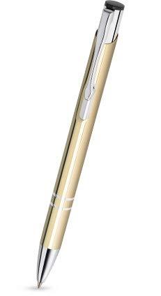 Kugelschreiber mit personalisierbarer Gravur, 50 Stück champagnerfarben
