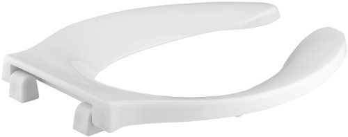 KOHLER K-4731-C-0 Stronghold Elongated Toilet Seat with Integrated Handle and Check Hinge, White