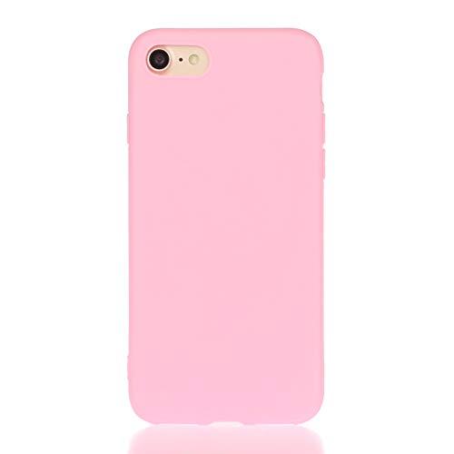 LeviDo Funda Compatible para iPhone 7 Plus/iPhone 8 Plus Silicona TPU Gel Case Ultrafina Carcasa Goma Bumper Antigolpes Resistente Kawaii Color Caramelo One Piece Cover, Rosa 1