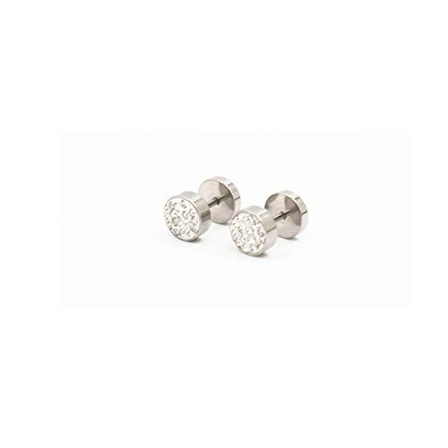 Iidytip Strass Ohrstecker Titan Stahl Einfache runde Ohrstecker für Männer,Silber + Weiß