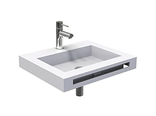 Ondé – Lavabo de pared centrado 60 cm en sólido, superficie blanca mate y toallero integrado – LICÉO