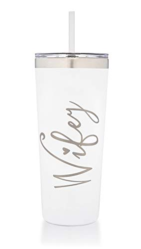 Wifey Tumbler | Engraved Stainless Steel Insulated Tumbler with Lid and Straw | Bridal Shower | Bride Tumbler | Engaged | Wife Anniversary | Wife Birthday (22 Ounce, White)