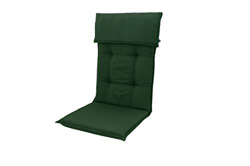 Doppler Stuhlauflage Hochlehner, grün, Dralon, 120 x 50 x 8 cm, inklusive Befestigungsbänder