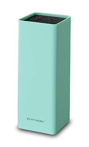 Echtwerk EW-MB-0115 Universal-Messerblock Square mit Borsteneinsatz, hellblau, Kunststoff