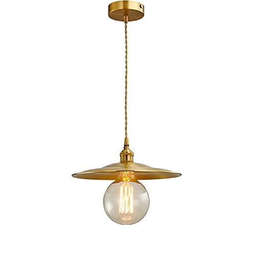 LINCCW Lamparas de araña cristal retro dormitorio E27 Restaurante moderno luz colgante dorado. Lamparas de Techo redonda para mesa de comedor Lofts cafeterías escaleras iluminación Ø29cm*H29cm