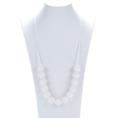 Baby Zahnen Halskette für Mama, Silikon Zahnen Kau Kugeln, BPA frei, Beißringspielzeug, entzündungshemmend, Zahnenschmerzen reduzieren, Still-Halskette für das Stillen - Weiß
