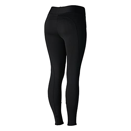Product Image 2: HORZE Active Women's Winter Fleece-Lined Silicone Knee Patch Equestrian Riding Tights – Black – 24