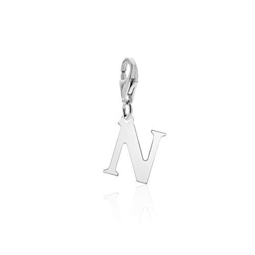 Aka Gioielli - Charm letra N de plata de ley 925 rodiada con colgante inicial del abecedario para mujer.