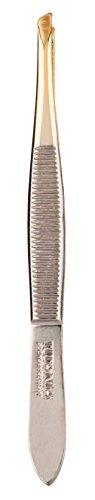 Titania Solingen Pince à épiler oblique, étroit, pointe plaqué or, 1er Pack (1 x 11 g)