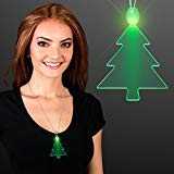 Green LED Christmas Tree Light Up Necklace (Set of 25)