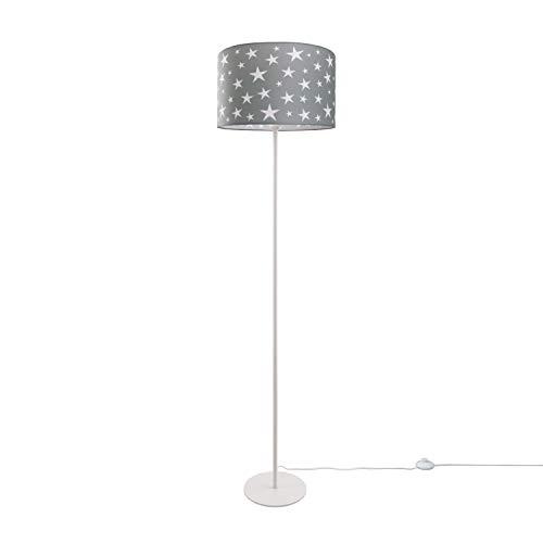Paco Home Luminaria Habitación Infantil Lámpara De Pie LED Estrellas Deco Lámpara Pie E27, Base de la lámpara:Una Pata Blanco, Pantalla de lámpara:Taupe (Ø38 cm)