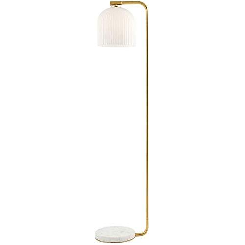 PLAYH Lámpara De Pie De Arco Clásica para Sala De Estar Lámpara De Pie LED con Pantalla De Lámpara Colgante De Vidrio De Jade Blanco A Rayas Lámpara De Poste Moderna para Dormitorio Oficina