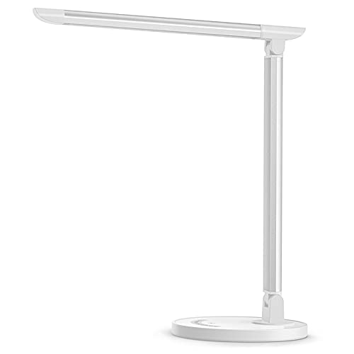 LED Desk Lamp, Eye-Caring Table Lamps, Dimmable Office Lamp with USB Charging Port, 5 Lighting Modes with 7 Brightness Levels, Touch Control, White, 12W