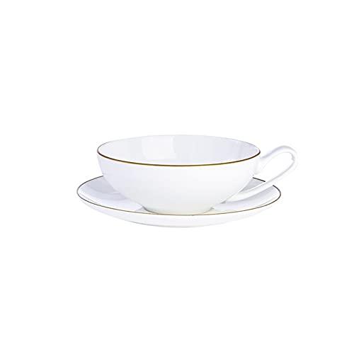 SXXYTCWL Taza de café del hueso blanco puro creativo, taza de taza de cerámica de la taza de cerámica de la taza de cerámica de la taza de agua del borde de oro con el platillo adecuado para los regal