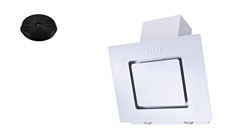 respekta Dunstabzugshaube Schräghaube kopffrei weiß 60 cm + Filter Umluftset