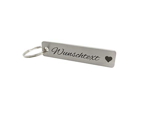 Schlüsselanhänger mit Gravur | Edelstahl | Schlüsselanhänger mit Namen | Geschenk für Vater Mutter Schwester Bruder | KFZ Schlüsselanhänger