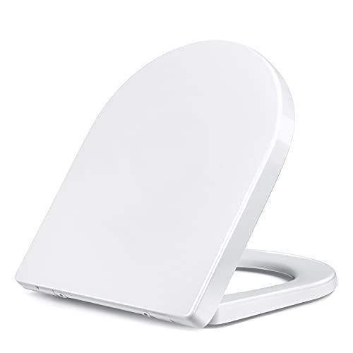Sedile WC a forma di U, Copriwater Universale con Chiusura Ammortizzata funzione di chiusura morbida e silenziosa, facile da installare e pulire, fissaggio superiore, colore bianco/ TL-04