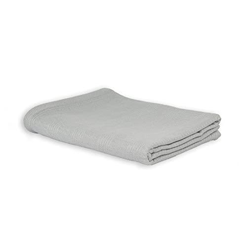 LANGDHUUS Colcha Original de Piqué | 100% algodón orgánico | Manta de Verano | Manta de sofá | Colcha de Cama (Gris Tranquilo, 130 x 150 cm)