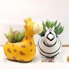 ZenZa Enterprise Resin Pot Combo Flo Pack Very overseas popular Animal Giraffe Zebra