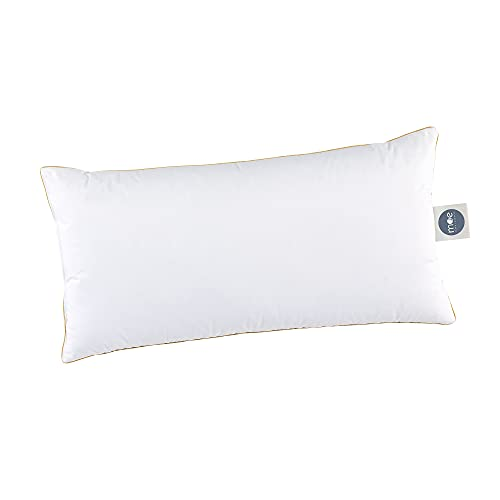 MOE Almohada de 3 cámaras, 40 x 80 cm, plumón suave, apoyo de plumas y plumón, funda 100% algodón, cantidad de relleno: 590 g, almohada 40 x 80 cm