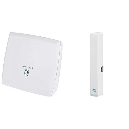Homematic Smart Home Zentrale CCU3 inklusive mediola AIO CREATOR NEO Lizenz, 151965A0, Weiß & Homematic IP Smart Home Fenster- und Türkontakt, optisch – Smarte Überwachung der Fenster, 140733A0