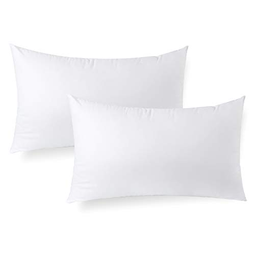 Calibrate Timing Insertos de almohada, 2 paquetes hipoalergénicos cuadrados, fundas decorativas para almohadas, Blanco, 12' x 20'