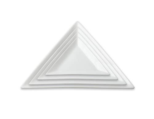 International Event Products- White Triangle Porcelain Plate 10'- Set of 4