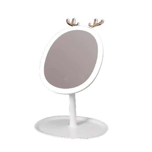 Espejo de Maquillaje Escritorio 28 LED Ajustable ABS y Vidrio Pantalla Táctil 2000mA USB Recargable Retirable para Casa,White