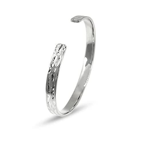 Sprezzi - Pulsera para hombre de plata de ley 925 maciza, pulsera para hombre, moderna, hecha a mano, martillada, pulida, tamaño ajustable, diseño minimalista con caja de regalo
