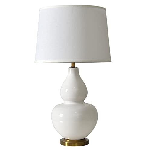 Lámpara Escritorio Lámpara de mesa de cerámica americana moderna creativa de calabaza blanca lámpara de noche lámpara de cama caliente hogar de la sala de estar de la sala de encierro Lámpara de mesa