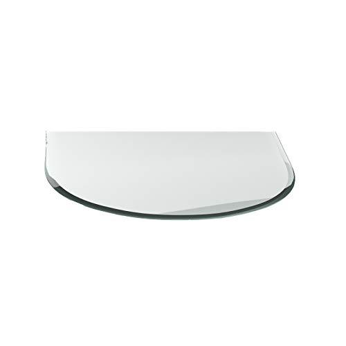 Funkenschutzplatte G16 Rundbogen ESG 6mm x 1100mm x 1000mm mit 18mm Facette Glasplatte Bodenplatte Kaminplatte Funkenschutz Ofenplatte Kaminglas