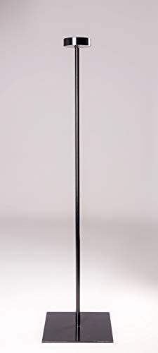 stahlkuebel.de Windlichtständer 'Luma' Typ 1 aus Rundrohr und runder Auflagefläche in schwarz mit quadratischer massiver Fußplatte LxBxH ca. 300 x 300 x 1200 mm