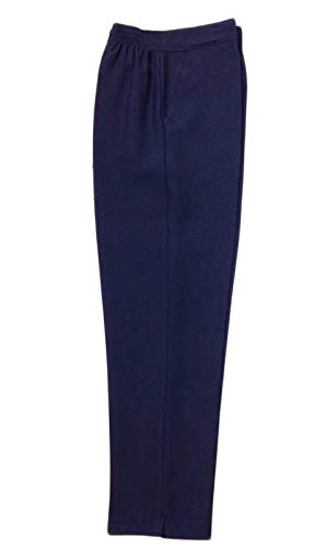 Inspire Me Ladies Womens Half Elasticated Waist Work Trousers Machine Washable Casual Stretch Trousers with Pockets Pants Navy 16 W 27 L