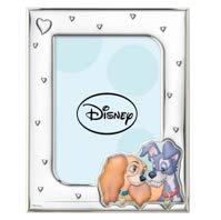 Disney Baby - Lilli et le Vagabondo - Cadre photo en argent pour table ou table de chevet pour la chambre de bébé ou de la fille parfait comme idée cadeau baptême ou anniversaire bleu ciel