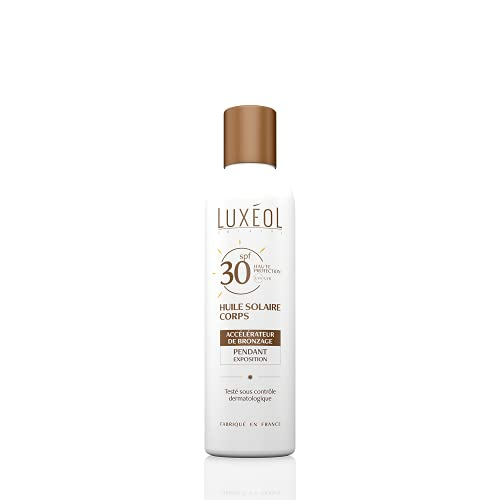 Luxéol – Huile Solaire Corps – SPF 30 –Accélère le Bronzage – Haute Protection – Made in France – 150 ml