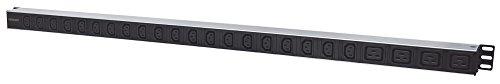 Intellinet 163675 24-fach Steckdosenleiste 20x C13 u. 4x C19 Steckdosen vertikale Rackmontage (PDU mit abnehmbarem Stromkabel 2m rückseitigem C14-Anschluss) schwarz/silber