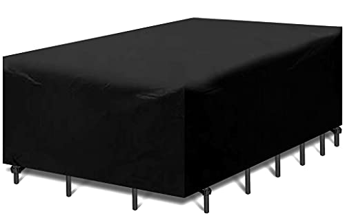 MISSFOX Waterproof Garden Furniture Cover, Rain Protection and Dustproof Protective Cover,Patio Furniture Rectangular Seating Sets,Breathable Anti-UV Tarpaulin for Garden Tables