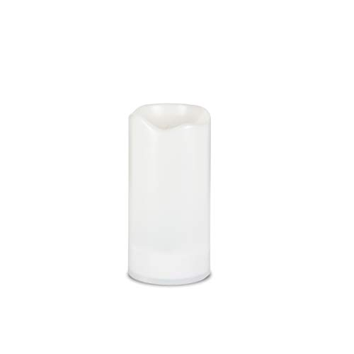 White Outdoor Solar Flameless Candle Weatherproof Resin Flickering Flame (3x6)