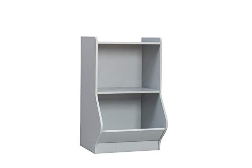 Iris Ohyama Kids Storage Shelf KSB-2 Grey Mueble de Almacenamiento/Armario/Estantería para Accesorios y Juguetes para niños, 2 Compartimentos, Engineered Wood, Gris