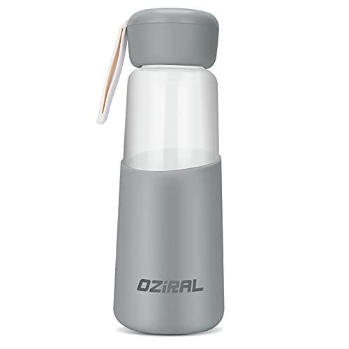 Oziral Botellas Cristal 400ML, Botella Agua Cristal con funda protectora de silicona Botella Cristal El color de juventud y vitalidad es adecuado para uso al aire libre, fitness,uso doméstico(Gris)
